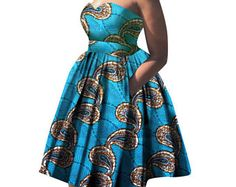 Items similar to African Women Dress Summer Fashion Lady Wax Print Dresses Fitted Mid-Calf Africa Sexy Bell sleeves Dress on Etsy African Dresses For Women, African Print Dresses, African Fashion Dresses, Summer Dresses For Women, Dress Summer, African Women, African Clothes, Africa Dress, Strapless Dress Formal