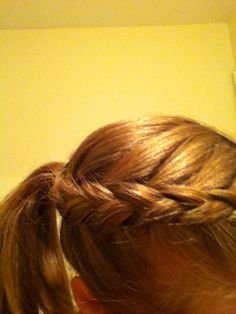 Reverse French braid into a ponytail. So cute!