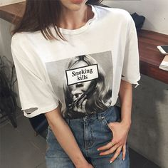 Loose Shirt Outfit, T Shirt And Jeans, Trendy Outfits, Cool Outfits, Loose Shirts, Aesthetic Fashion, Passion For Fashion, Korean Fashion, Shirt Designs
