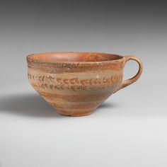 Terracotta hemispherical cup Period: Late Minoan IB Date: ca. 1525–1450 B.C. Culture: Minoan Medium: Terracotta; Fine painted ware Dimensions: H. 2 13/16 in. (7.2 cm) Diameter 4 3/4 in. (12.1 cm)
