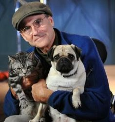 James Taylor with Ray the Cat and Ting the Pug. We lost our beloved pug Dexter last June, but we are still devotees of the breed. Strong Dog Names, Girl Dog Names, Hawaiian Boys, Grumble Of Pugs, Pug Mops, Pug Pictures, White Dogs, Girl And Dog, Pug Life