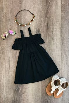 Black Off-Shoulder Dress So adorable and perfect for everyday wear this Spring and Summer! Little Girl Outfits, Kids Outfits Girls, Cute Outfits For Kids, Little Girl Fashion, Little Girl Dresses, Toddler Fashion, Toddler Outfits, Kids Fashion, Girls Dresses