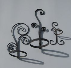 Scrolled Metal Flower Pot Holders Wall Hanging by UncommonEye