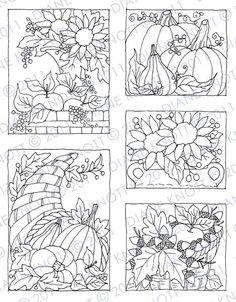Digital Stamp / Embroidery Pattern - Fall Still Lifes. $3.00, via Etsy.
