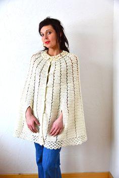 VINTAGE Crochet Cream Shawl Cape - READY to SHIP