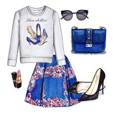 Grey printed sweatshirt, blue skirt, black heels, blue bag