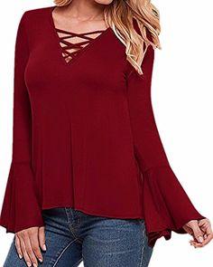 Price:$16.99  Women's V Neck Lace Up Blouse Long Ruffled Sleeve Bandage Tops Shirt