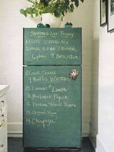 chalkboard fridge.