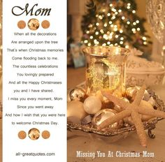 In Loving Memory Cards For Mom Missing You At Christmas Mom. I love you and miss you, Mom Missing Mom In Heaven, Mom In Heaven Quotes, Mom Quotes, Missing Quotes, Mother Quotes, Family Quotes, Merry Christmas In Heaven, Christmas Poems, Country Christmas