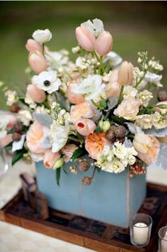 REVEL: Peach + Blue Centerpiece
