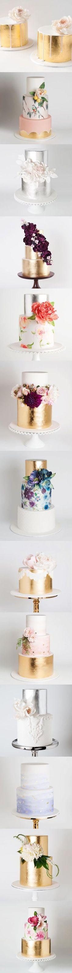 Tartas y pasteles de boda en color oro, y flores, diseños 2016. metallic cakes - my kind of wedding cakes! Bring on the gold :)