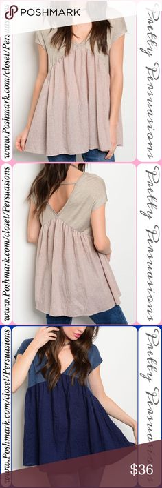 """NWT Dusty Pink & Taupe Babydoll Top NWT Dusty Pink & Taupe Babydoll Top  Available in S, M, L Measurements taken from a small  Length: 28"""" Bust: 34"""" Waist: 34""""  Rayon/Spandex  * Also available in Denim Blue Combo *  Features  • double v-neck w/strap back detail • short sleeves  • relaxed, early fit • soft, breathable material   Bundle discounts available  No pp or trades  Item # 1/1011240360BPT blush pink flowy relaxed top Pretty Persuasions Tops"""