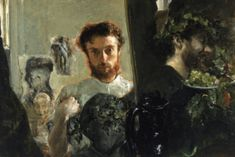 Self-Portrait, 1872 by Antonio Mancini (Italian 1852 - Self Portrait Art, Oil Portrait, Portrait Paintings, Italian Painters, Italian Artist, Selfies, Italy Painting, Painting Studio, Bear Art