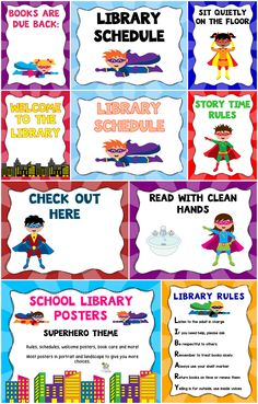 Decorate your library with superheroes. There are over 100 pages of posters. Posters come in portrait and landscape and with boy and girl superheroes. I have also included a set of editable PowerPoint files so you can add your own text. Library Games, Library Posters, Library Skills, Library Activities, Library Lessons, Superhero School Theme, Superhero Classroom, School Themes, Superhero Ideas