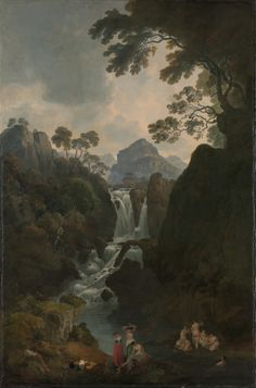 Julius Caesar Ibbetson (1759-1817, British), A Waterfall with Bathers, 1811