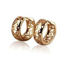 18K Yellow Gold Plated Scroll Huggie Hoop Ladies Earrings 13mm