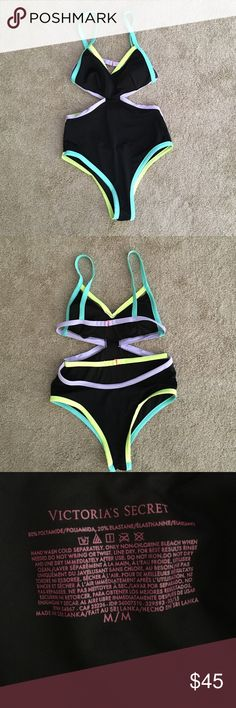 Bathing suit VS bathing suit size Medium my favorite suit and sad to be selling it. One piece cutout sides shows a good amount of your bottom a nice sexy one piece  Victoria's Secret Swim One Pieces