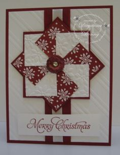 Stamp Set – More Merry Messages (retired) Paper – Cherry Cobbler, Whisper White, Trim the Tree Paper Stack Ink – Cherry Cobbler, Cherry Cobbler Blendabilities Accessories: Stylish Stripes Embossing Folder, Petals a Plenty Embossing Folder (retired), 1 1/4″ Square Punch (retired), Cherry Cobbler 1″ Sheer Linen Ribbon, 3/8″ White Taffeta Ribbon (retired), Rhinestones, Very Vintage Designer Buttons