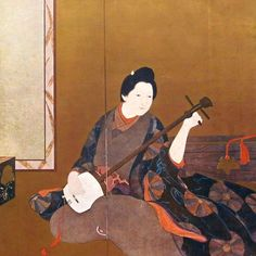 """I was so happy to find this print! In this print there is beautiful woman in kimono traditional dress playing """"shamisen"""" instrument (Japanese style traditional guitar). It is Japanese art magazine cover in 1931 April Issue Vol. 14 called The International Graphic. Some parts of this print are shiny gold colors. On the back there is a table of contents.  Shimomura Kanzan original name Shimomura Seizaburō (born April 10 1873 Wakayama Japandied May 10 1930 Tokyo) Japanese artist who contributed…"""