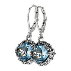 Sara Blaine Golden Flower Drop Earring in Blue Topaz ($188) ❤ liked on Polyvore