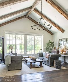 warm and cozy fall home tour-Wood beams in living room-rustic decor Fall Fireplace, Family Room Fireplace, Beautiful Home Designs, Beautiful Homes, Modern Farmhouse Design, Farmhouse Style, French Country Furniture, Floating, Elegant Homes
