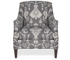 Boston Interiors Aviva Chair A sleek frame and bold graphic pattern makes the Aviva a stunning addition to any space Upholstered in a pewter ikat fabric with plantation finish legs and features a deluxe seat cushion Room, Dream Living Rooms, Living Room Chairs, Upholstered Furniture, Chair, Chair Fabric, Leather Chair, Boston Interiors, Upholstered Chairs
