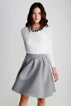 so cute, I love the grey skirt with the white top.