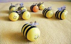 Bee family! I love to reuse kinder-surprise core for any projects.Kids too.