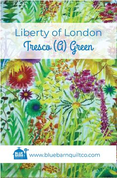$45 CAD per yard. Liberty of London Fabrics Tresco (A) Green. Tana Lawn Collection. A watercolour print of the study of a selection of flowers, ferns and succulents from the windswept sand dunes and landscaped borders of the Abbey Garden, this Liberty Fabrics print represents the rich collection plants gathered from around the globe.   #libertylove #libertyfabric #libertyoflondonfabric  #longarmquilting  #canadianquiltshop #sewcanadian #onlinequiltshop #onlinequiltstore #onlinefabricshop Liberty Of London Fabric, Liberty Fabric, Blue Quilts, Longarm Quilting, Watercolor Print, Ferns, Printing On Fabric, Quilt Patterns, Lawn