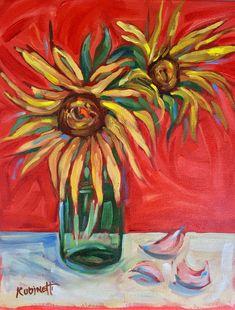 Sunflowers & Garlic 11 x 14 still life by LaurieRubinettiArt