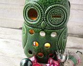 Vintage Owl Hanging Candle Holder ceramic lantern Owl woodland animal bird (2 available)