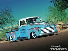Blue Slammed 50 Chevy Truck