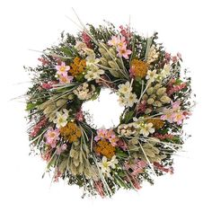 "Enjoy the beauty of nature throughout the seasons with this beautiful wreath, showcasing natural grass with faux pink larkspur and green eucalyptus in a natural twig base. Construction Material: Preserved materials, silicone and a natural twig base; Color: Pink; Dimensions: 18"" Diameter; Cleaning and Care: Wipe gently with a dry cloth. Keep out of direct sunlight."