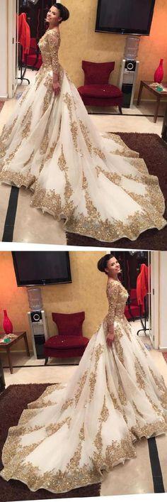 Prom Dresses V Neck Appliques Wedding Dress Long Prom Dresses Long Sleeves