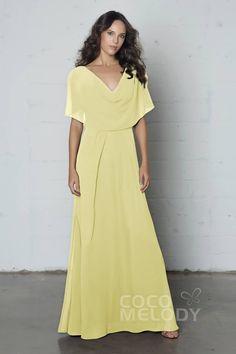 Elegant Sheath-Column Cowl Natural Floor Length Chiffon Sleeveless Zipper Dress #cocomelody  #customdresses #promdresses #partygowns