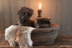 Oude ronde houten bak 52 cm