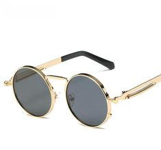 6c0b583ded5 new brand Round Metal Sunglasses Steampunk Men Women Fashion Glasses Brand  Designer Retro Vintage Sunglasses UV400