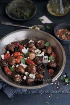 Balsamic Roasted Mushroom with Goat Cheese  Looks fun to make and tasty.