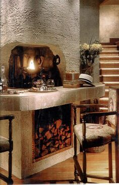 Romantic fireplaces by Leo Dowell Designs.