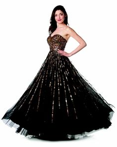 Black Ball Gown Strapless Sweetheart Gold Sequins Flowy Poofy Skirt $447.99