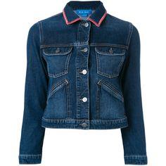 Mih Jeans Stockholm customised denim jacket by Amanda Norgaard (4.060 NOK) ❤ liked on Polyvore featuring outerwear, jackets, blue, patched denim jacket, patch jacket, denim jacket, patched jean jacket and blue denim jacket
