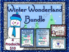 Winter Wonderland Bundle (Includes 4 Products) from By Kimberly on TeachersNotebook.com -  (100 pages)  - Winter Wonderland Bundle (Includes 4 Products)    Kindergarten (Common Core Aligned)   This bundle includes four winter themed products, including one of my best selling products (Winter Wonderland Math and Literacy). Products are Common Core aligned to m