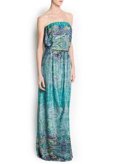 Vestido comprido estampado paisley
