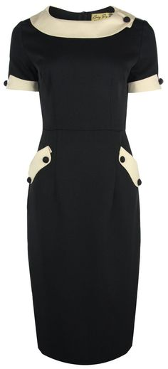 Curvy fashion (even Lindy Bop Classy 'Tiffany' Vintage Collared Pencil Wiggle Dress. Love this Audrey Hepburn style dress, in black and white. Pretty Dresses, Beautiful Dresses, Dresses For Work, Dress Work, 1950s Fashion, Vintage Fashion, Vintage Style, Vintage Inspired, Vintage Dresses