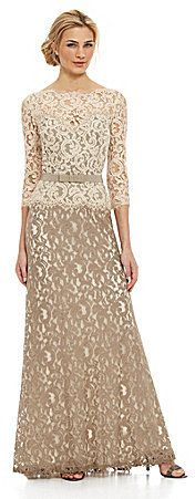 Tadashi Shoji Two-Tone Lace Gown - ShopStyle Dresses Mob Dresses, Casual Dresses, Nice Dresses, Holiday Dresses, Special Occasion Dresses, Fashion Now, Girl Fashion, Mother Of The Bride Gown, Tadashi Shoji