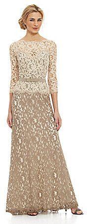 Tadashi Shoji Two-Tone Lace Gown #EveningDress #BallGown #fashion