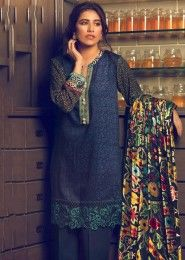 Casual Wear  Neavy Blue Pashmina Embroidered Work Straight Suit