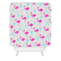 Bouffants and Broken Hearts Flamingos and Dots Shower Curtain | DENY Designs Home Accessories - Do you still wish to dance now your heart is broken? ...Allow the dance of love heal your pain-go to http://www.psychicinstantmessaging.co.uk/pimpin3