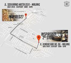 Untuk loyal people's yang belum mengetahui alamat 2nd Store, kita ada di Jl. Kendalsari no.6 malang. Buka setiap hari dari jam 10 pagi hingga 10 malam. Silahkan kunjungi store baru kami dengan konsep baru yang kami tawarkan. www.inspired27.com