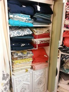 Tons of curtains and linens